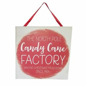Candy Cane Factory Holiday Wall Sign
